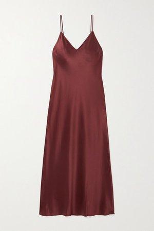 Clea Silk-satin Midi Dress - Burgundy