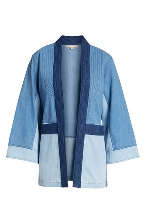 New Friends Colony Denim Patchwork Open-Front Cardigan | Nordstrom