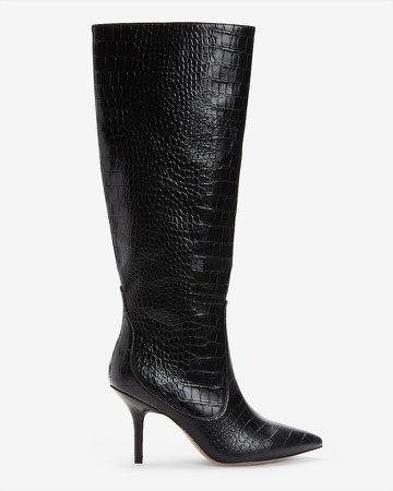 Knee High Textured Kitten Heel Boots