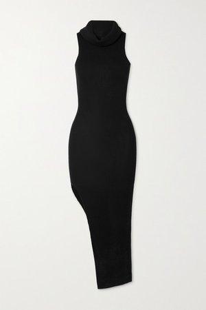 Draped Ribbed Wool Midi Dress - Black