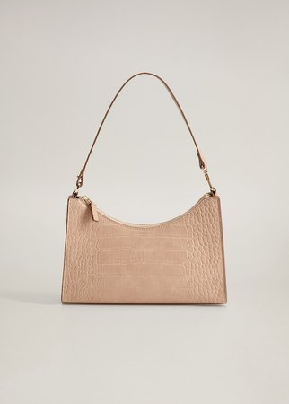 Croc-effect baguette bag - Women | Mango USA peach