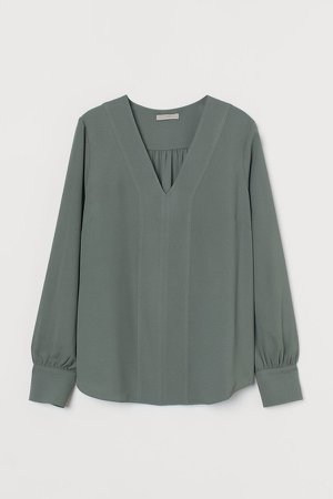 V-neck Blouse - Green