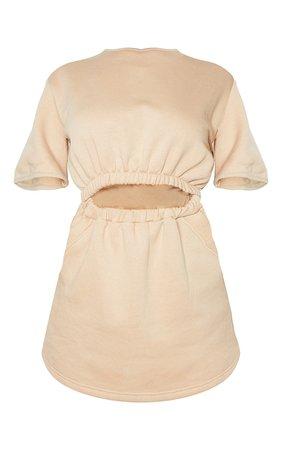 Stone Pocket Detail Cut Out Short Sleeve Sweatshirt Dress | PrettyLittleThing USA