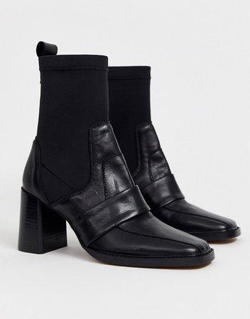 ASOS DESIGN Rhodes premium leather loafer sock boots in black