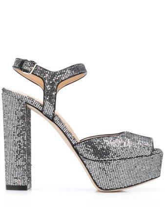 Silver Sergio Rossi open toe platform sandals - Farfetch