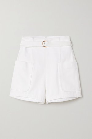 Belted Cotton-blend Twill Shorts - White