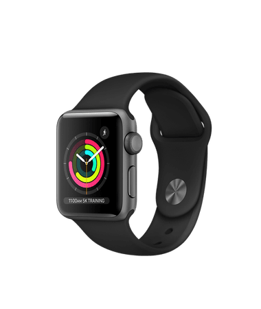 AppleWatch Series3 GPS, 38mm Space Grey Aluminium Case with Black Sport Band - Education - Apple (SG)