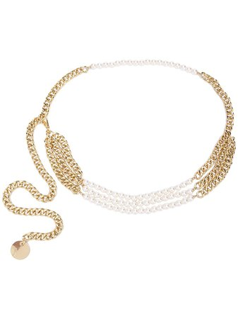 B-Low The Belt Pearl Embellished Chain Belt Ss20 | Farfetch.com