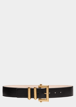 Versace Square Buckle Leather Belt for Women | US Online Store