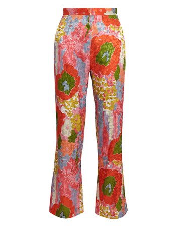 Ronny Kobo Belle Flared Floral Jacquard Pants | INTERMIX®