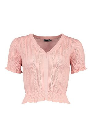Ruffle V Neck Pointelle Knitted Top | boohoo
