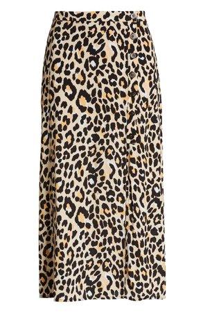 ASTR the Label Leopard Print Button Front Midi Cotton Blend Skirt