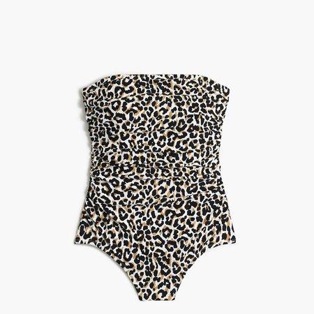 Leopard strapless one-piece swimsuit