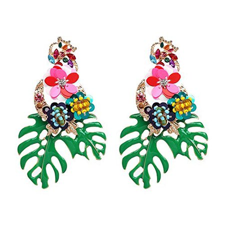 AmazonSmile: Lureme Gorgeous Colorful Sequin Flower Floral Leaf Stud Earrings for Women and Girls (er006023-3) Green: Clothing