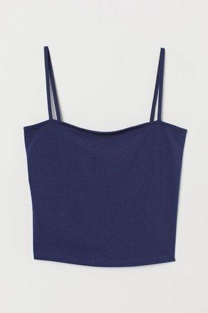 Short Jersey Top - Dark blue - | H&M US