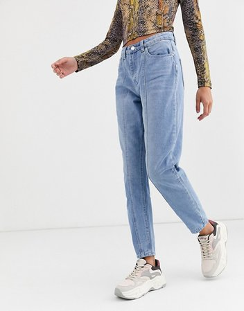 Missguided riot mom jeans with seam detail in blue