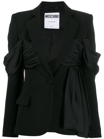 Black Moschino Ruffle Detail Blazer | Farfetch.com