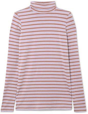 Striped Stretch-jersey Turtleneck Top - Lilac