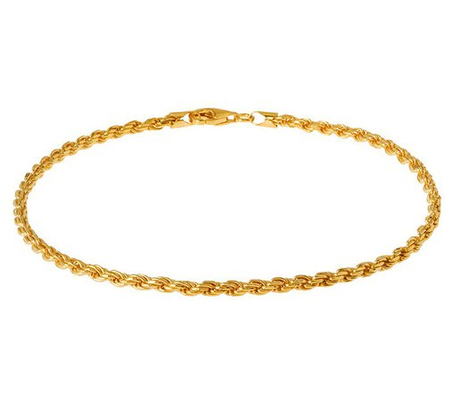 """Veronese 18K Clad 11"""" Diamond-Cut Rope Chain Anklet - Page 1 — QVC.com"""