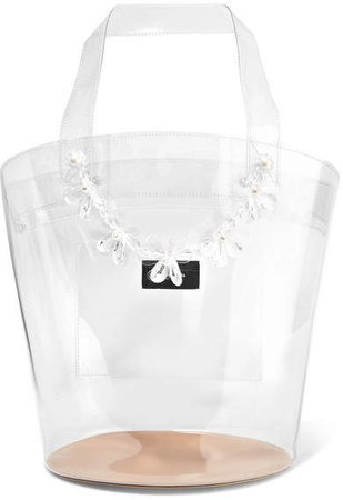 Embellished Pvc Tote - White