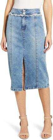 Front Slit Jean Skirt