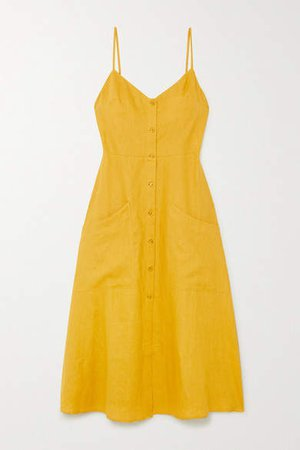 Parke Linen Midi Dress - Yellow