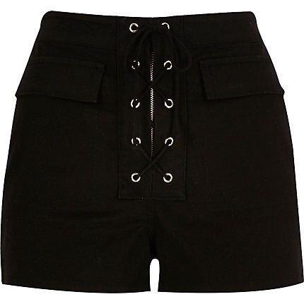 Black Lace-Up High Waisted Shorts