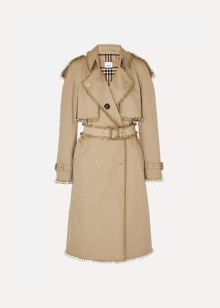 Embellished Cotton-gabardine Trench Coat - Beige