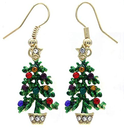 Happy Colorful Christmas Tree Earrings Hoop Dangle Drop Style: Jewelry
