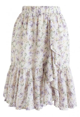 Floral Print Ruffle Eyelet Embroidered Chiffon Skirt in Lilac - NEW ARRIVALS - Retro, Indie and Unique Fashion
