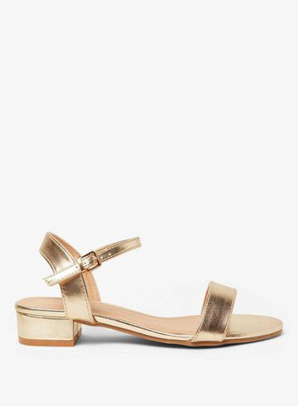 Wide Fit Gold Spirit Block Heel Sandals - Sandals - Shoes - Dorothy Perkins