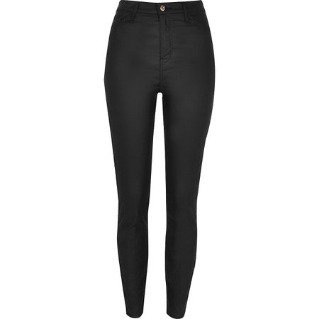 Black coated Hailey jeans | River Island