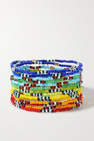 Red New Patchwork set of 12 beaded bracelets | Roxanne Assoulin | NET-A-PORTER