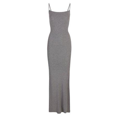 Soft Lounge Long Slip Dress - Heather Grey   SKIMS