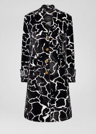 Versace Giraffe Motif Faux Fur Coat for Women | Official Website