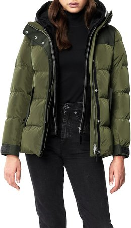 Rania Water Resistant Down Puffer Coat with Removable Genuine Shearling Bib