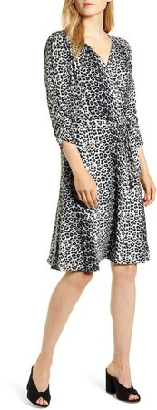 Loveapella Leopard Print Wrap Front Dress