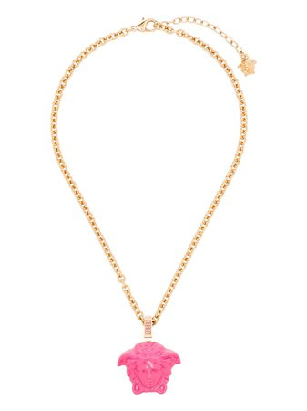 gold & pink Versace Medusa logo necklace with Express Delivery - Farfetch