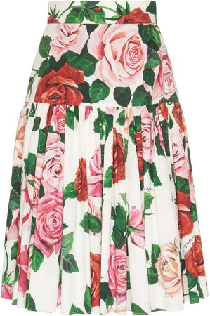 Ruffled Drop-Waist Floral Cotton-Poplin Midi Skirt