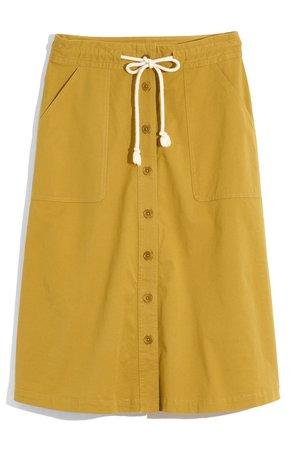 Madewell Tie Waist Utility Midi Skirt | Nordstrom