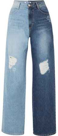 Two-tone Distressed High-rise Wide-leg Jeans - Mid denim