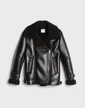 Faux shearling coat - Woman   Bershka
