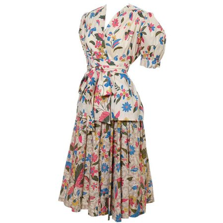 YSL 1970s Vintage 2pc Dress Floral Skirt Top Russian Peasant Yves Saint Laurent For Sale at 1stdibs