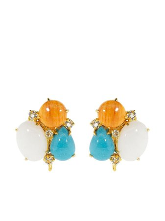 Bounkit Jewelry agate, Turquoise And Diamond clip-on Earrings - Farfetch