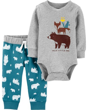2-Piece Construction Bodysuit Pant Set | carters.com