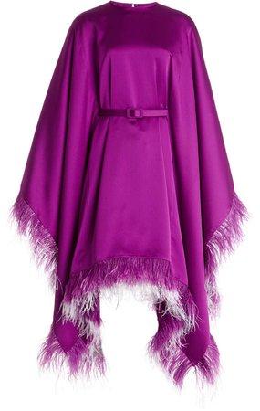 Huishan Zhang Calista Feather-Trimmed Satin Midi Cape Dress
