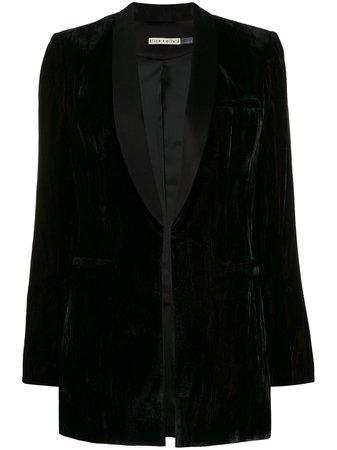 Black Alice+Olivia Velvet Tuxedo Blazer | Farfetch.com