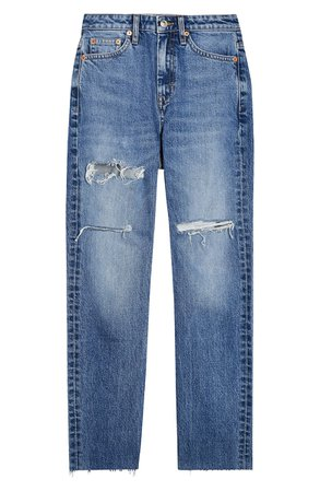 Topshop Sofia Ripped Straight Leg Jeans blue