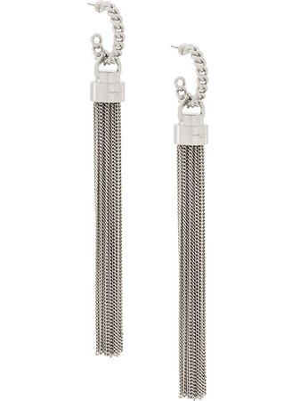 Silver Saint Laurent Tassel-Style Long Earrings | Farfetch.com