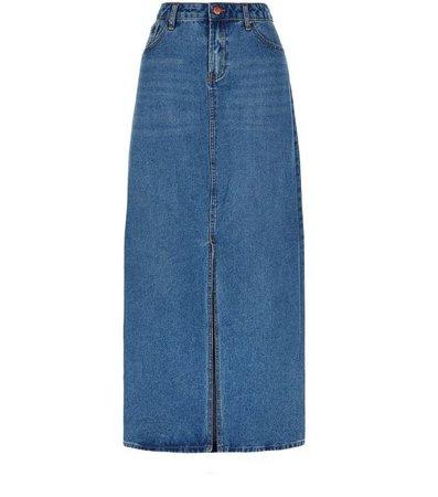 Blue Split Front Maxi Denim Skirt | New Look